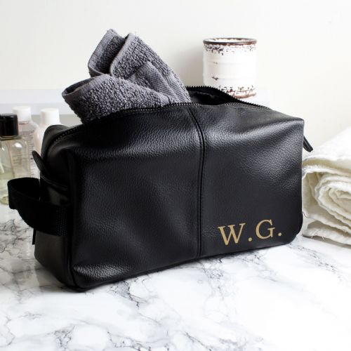 Personalised Luxury Initials Black Leather Wash Bag